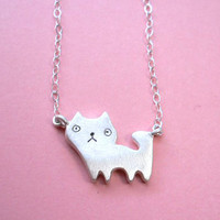 Tiny Cat Pendant  Animal Silver Necklace by StudioRhino on Etsy