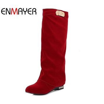 ENMAYER Western Fashion British Style Straight Sets Foot Fashion Sexy High Boots Black Red Brown Drop Shipping Big Size 34-43