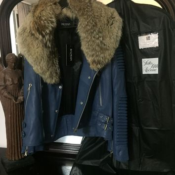 8d2f7bd5aa Balmain Jacket 'Size Eu 2XL' (Lambskin W Fox Fur Collar!!) Must