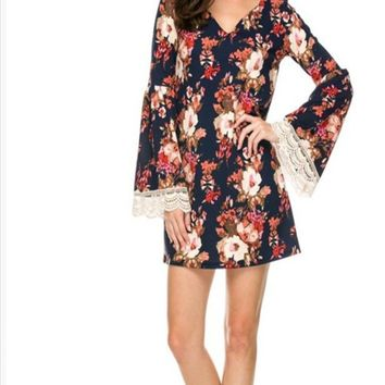 Leave Me Breathless Floral Bell Sleeve Dress - FINAL SALE!