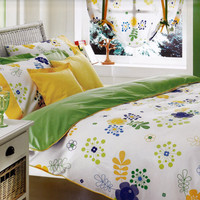 Custom Queen Size Lime Green Yellow Navy Cobalt Blue Floral Print Bedding Set