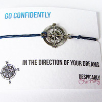 Friendship Bracelet - Compass Friendship Bracelet with Silver Compass Charm - Perfect Best Friend Gift or Graduation Gift