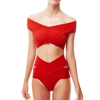 Red Swimwear Strapless  Beach Wear Cut Out Bikinis High Waist Bandage Swimsuit
