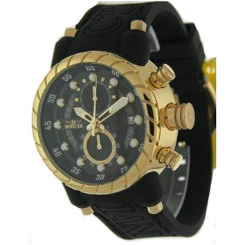 Invicta 14185 Men's S1 Rally Black Dial Gold Plated Steel Black Rubber Strap Chronograph Watch