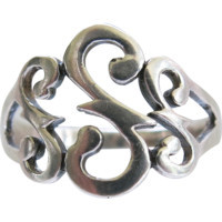Sterling Openwork Scroll Ring Size 9 Silver