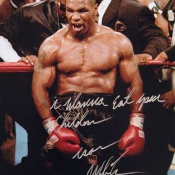ONETOW Mike Tyson Signed Autographed 'I Wanna Eat Your Children' Glossy 16x20 Photo (ASI COA)