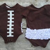 Football Ruffle Bum Baby Outfit