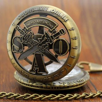 Free Shipping Vintage Bronze Sword Art Online Chain Pocket Watch Necklace Pendant Mens Christmas Gift P311C