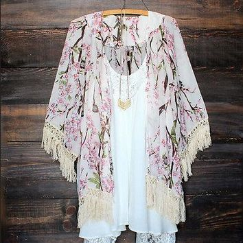 Fringe or lace trim floral print kimono cover ~ Plus size available