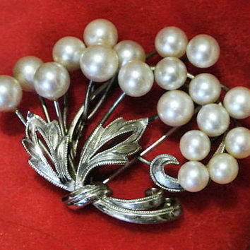 1950s Mikimoto Pearl Brooch Akoya Ocean Pearls Japanese Japan Sterling Silver Brooch Mid Century High Fashion Bouquet Flowers Floral Brooch