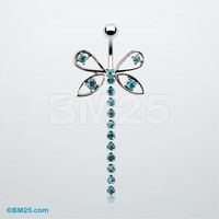 Dragonfly Gems Adorn Belly RIng