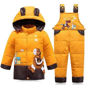 Down Jacket For Girls Snowsuit Winter Overalls Boy Children Autumn Warm Jackets Toddler Outerwear Baby Suits Coat Pant Set 2-4Y
