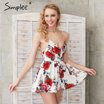 ESBONFI Simplee Summer beach boho floral print overalls Backless sexy bodysuit women jumpsuit romper Club white chiffon playsuit leotard