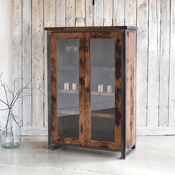 Industrial Bar Storage Cabinet / Tall Double Door Glass Hutch & Buffet / Bookcase / Display Case
