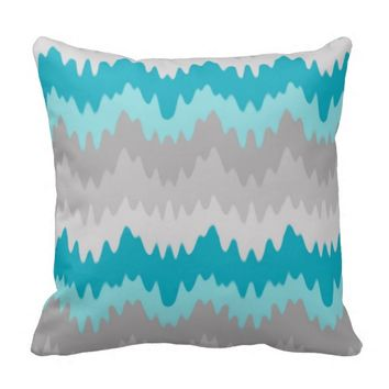 Teal Turquoise Blue Grey Gray Chevron Ombre Fade Throw Pillows
