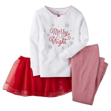 Carter's ''Merry & Bright'' Glitter Tutu Pajama Set - Toddler Girl, Size: