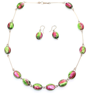 Venetian Murano FOIL Glass Bead Necklace with Matching Earrings Art Deco period 1930s