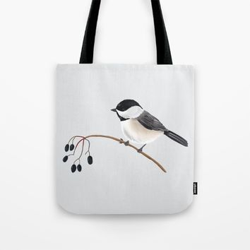 Winter Chickadee Tote Bag by 13sparrows