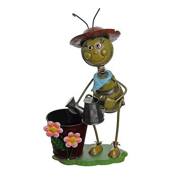 "13.5"" Vintage Bee With Watering Can Decorative Spring Outdoor Garden Planter"