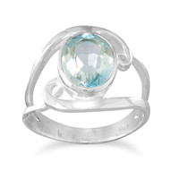Sterling Silver Cut Out Oval Blue Topaz Ring