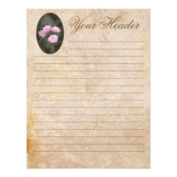 Vintage design. Pink roses. Your header. Lined. Letterhead