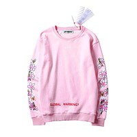 2017 Off White Printing Flower Sweater S---XL
