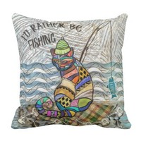 I'd Rather Be Fishing Tribal Cat Throw Pillow