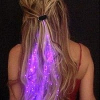 Starlight Strands Illuminating Hair Extensions (Set of 6 Hair Strands) (Purple): Clothing