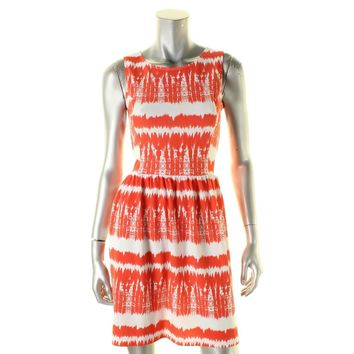 Aqua Womens Textured Printed Casual Dress Orange L