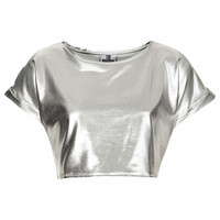 **METALLIC CROP TEE BY THE RAGGED PRIEST