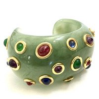 Kenneth Jay Lane Wide Resin Cuff, Jade Green Resin Embedded Multi-Color Cabs & Faux Pearls Gold Tone, Vintage Gift for Her,  High Fashion