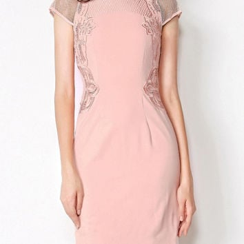 Apricot Sheer Cap Sleeve Floral Embroidered Bodycon Dress