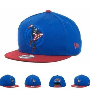 DCCKUN7 Marvel Captain America Action Arch Snaps 9fifty Cap Cap Snapback Hat - Ready Stock