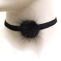 THICK VELVET RABBIT FUR CHOKER NECKLACE SET - BLACK