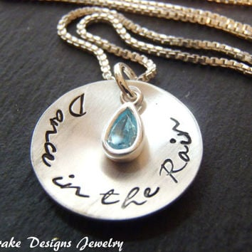 inspirational Necklace Dance in the Rain sterling silver Raindrop necklace