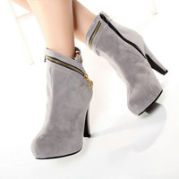 2015 new arrived sexy party Ladies large size shoes Flock Ankle ankle boots Women High Zip Solid 2 Color shoes W1XSD803