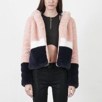 Color Block Faux Fur Jacket