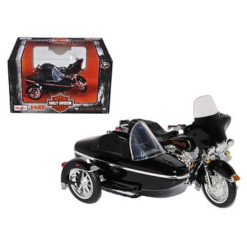 1998 Harley Davidson FLHT Electra Glide Standard with Side Car Black Motorcycle Model 1/18 Diecast Model by Maisto