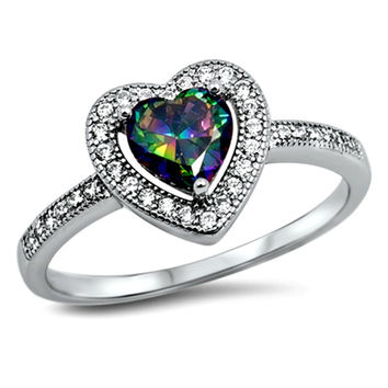 .925 Sterling Silver Halo Rainbow Mystic Topaz Heart Engagement Ring size 5-10