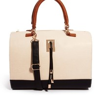 ASOS Bowler Bag With Strap And Plate Detail