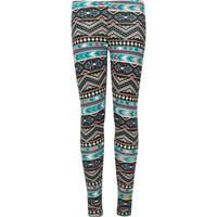 Full Tilt Southwest Print Girls Leggings Blue Combo  In Sizes