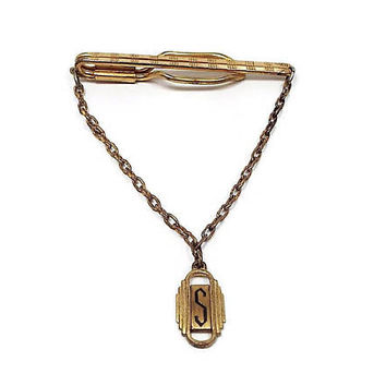 Vintage Tie Bar, Initial Letter S Drop with Chain, Art Deco 1920s 20s, Hickok USA, Brass Tie Bar, Tie Clip, Slide on Open Cravat Holder