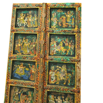 Antique Doors Hand Painted Indian Princess Door Brass Fitted India Furniture 18c FREE SHIP