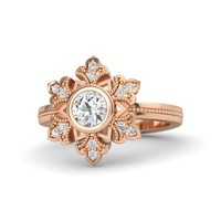 Round White Sapphire 14K Rose Gold Ring with White Sapphire