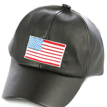 FAUX LEATHERHAT AND CAP AMERICAN FLAG EMBROIDERED BASEBALL