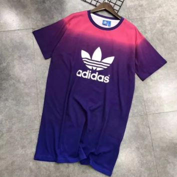 ADIDAS Purple Pink Gradient Long Dress Women Dress B-A-QDSK-Buy Micro Purple