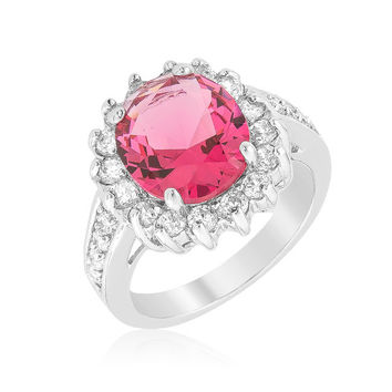 Kate Ruby Red Cambridge Oval Halo Engagement Cocktail Ring | 7ct | Cubic Zirconia | Silver