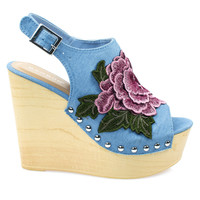 Woobery17 Blue Jean Denim By Bamboo, Large Floral Patch On Wooden Platform Wedge Sandal, Metal Bolt