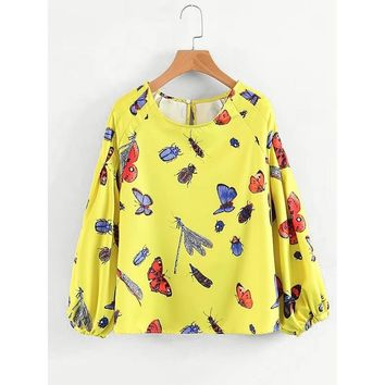 Butterfly Print Balloon Sleeve Blouse