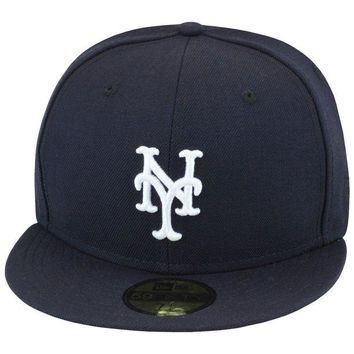 DCK4S2 New Era New York Mets 'Yankee Hater' Fitted Hat Cap All NAVY/White 59fifty mlb